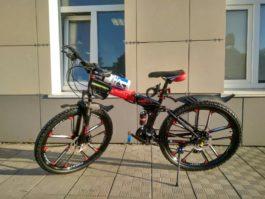 Велосипед складной 10 лепестков красно-черный