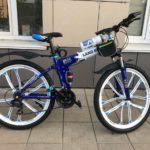 Велосипед складной 10 лепестков бело-синий