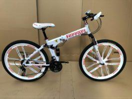 Велосипед складной 10 лепестков бело-красный